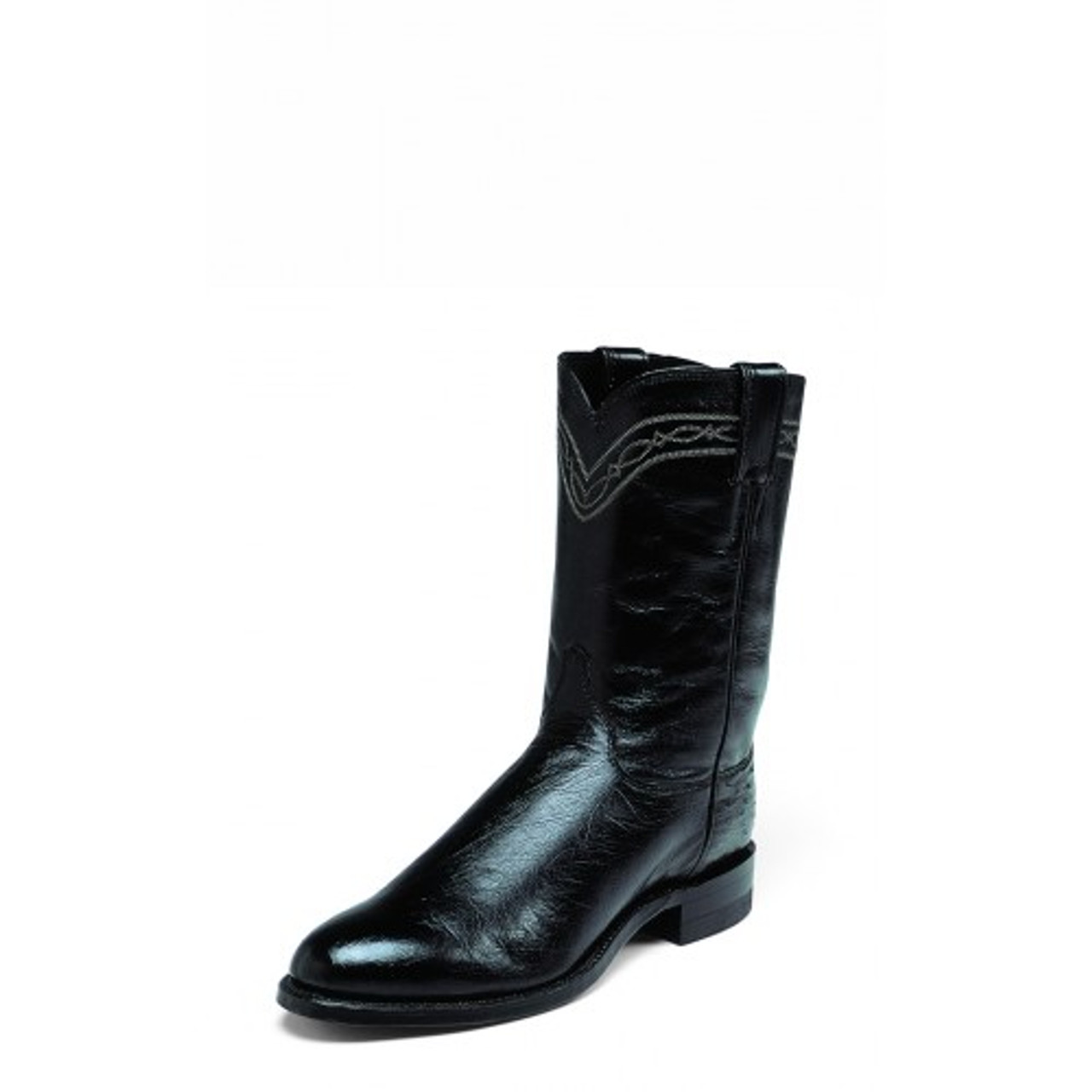 727cd819d50 Justin Men's Exotic Ropers - Brock Black Smooth Ostrich / Black Classic Kid