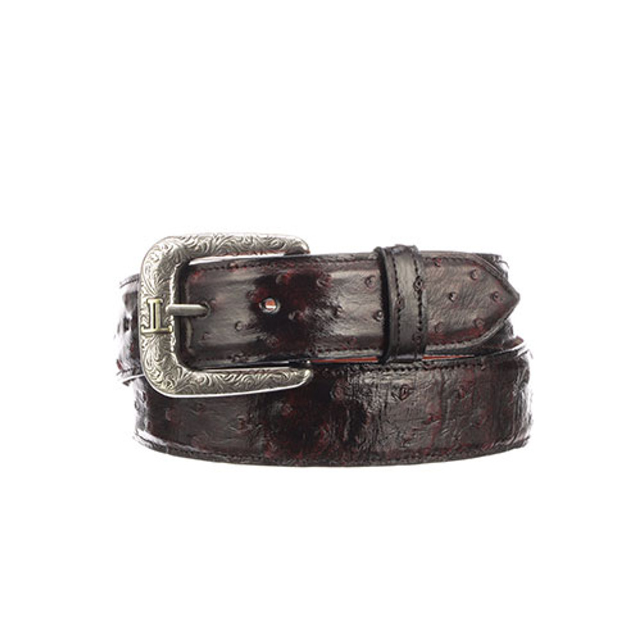 98b854c74 Lucchese Men's Belts - Black Cherry Full Quill Ostrich - Straight or ...