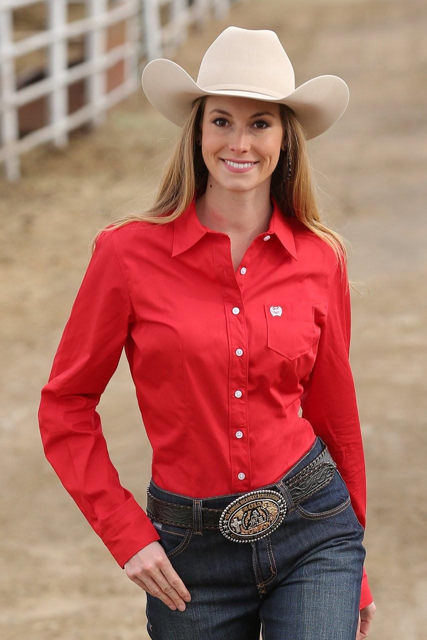 0e3b6d6b Cinch Women's Shirt - Solid Button Up - Red - Billy's Western Wear