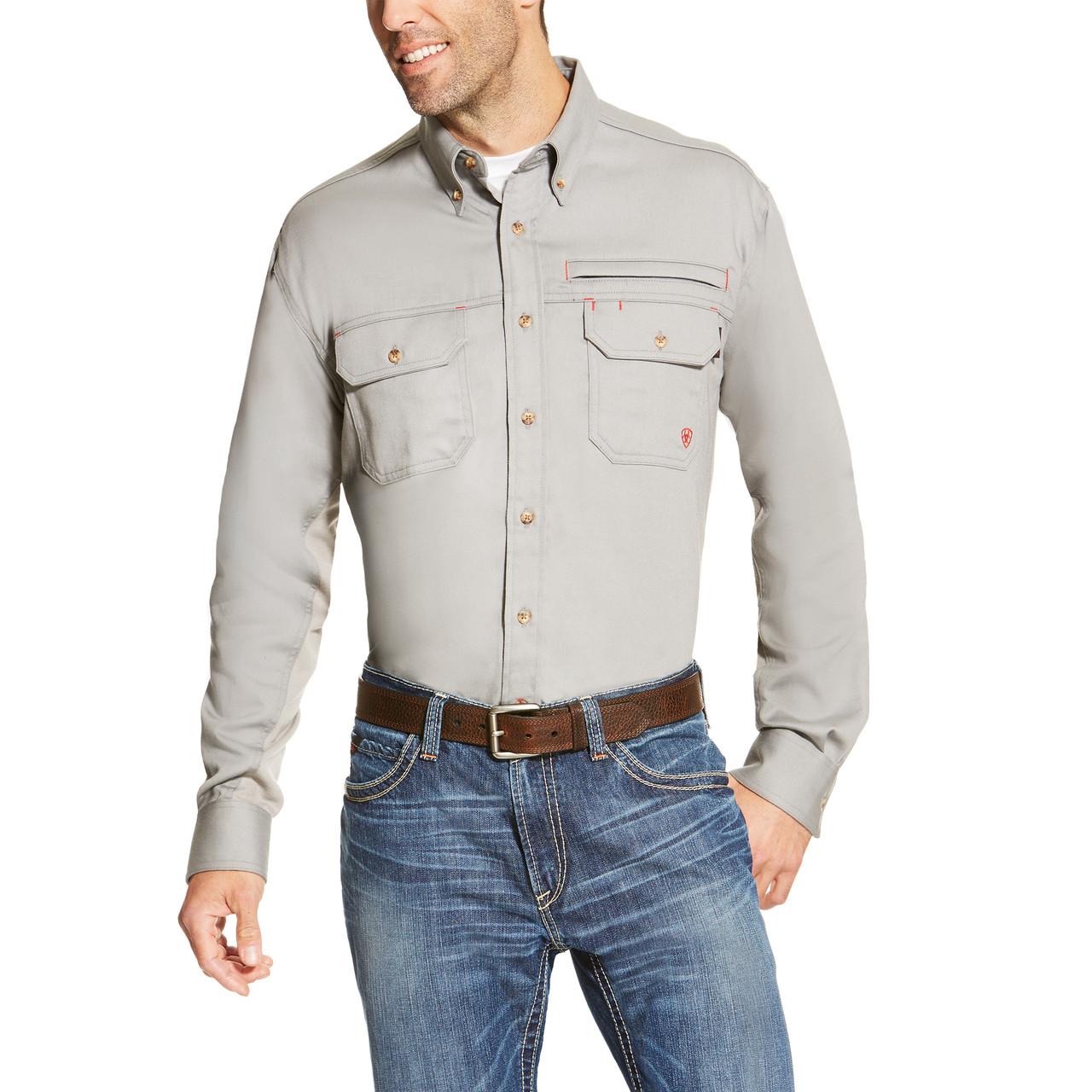 Ariat Men s FR Solid Vent Work Shirt - Silver Fox - Billy s Western Wear 468d5fce65cc