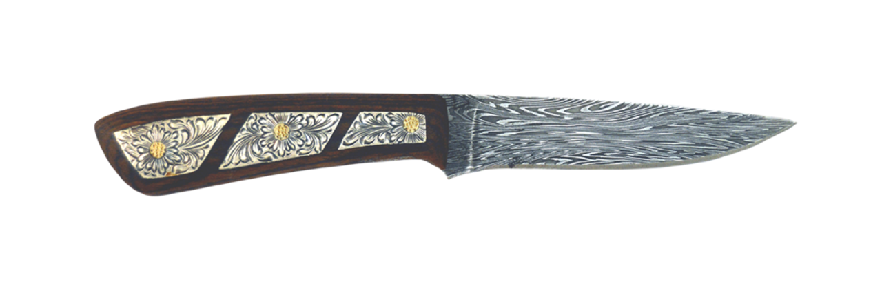Vogt Mens Accessories - Knives - The Patriot - Damascus Steel Blade w/ Hand  Engraved Parquet Inlay