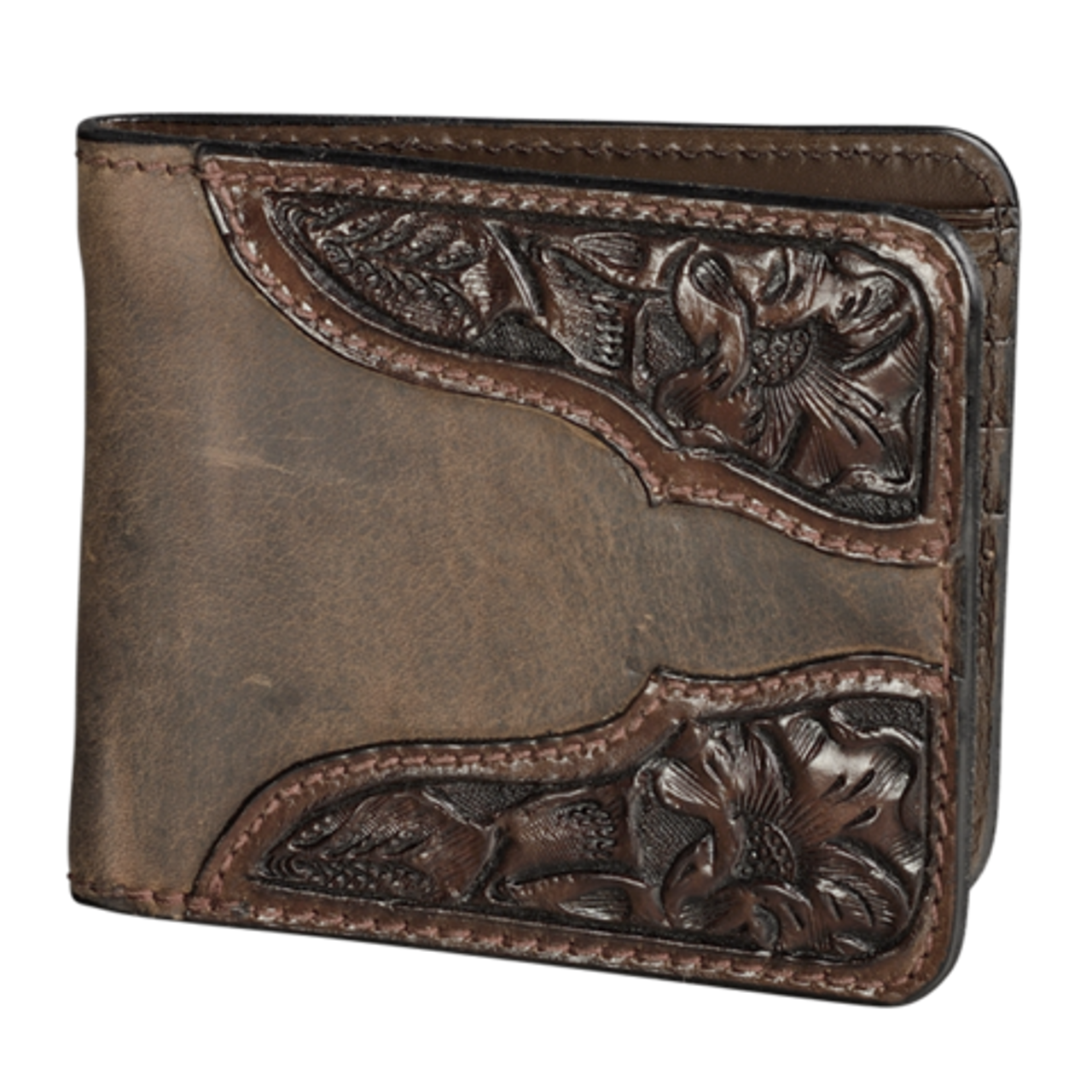 3c81ea4a6 Vogt Mens Accessories - Wallets - Chocolate Brown Leather Wallet with Hand  Tooled Floral Corners
