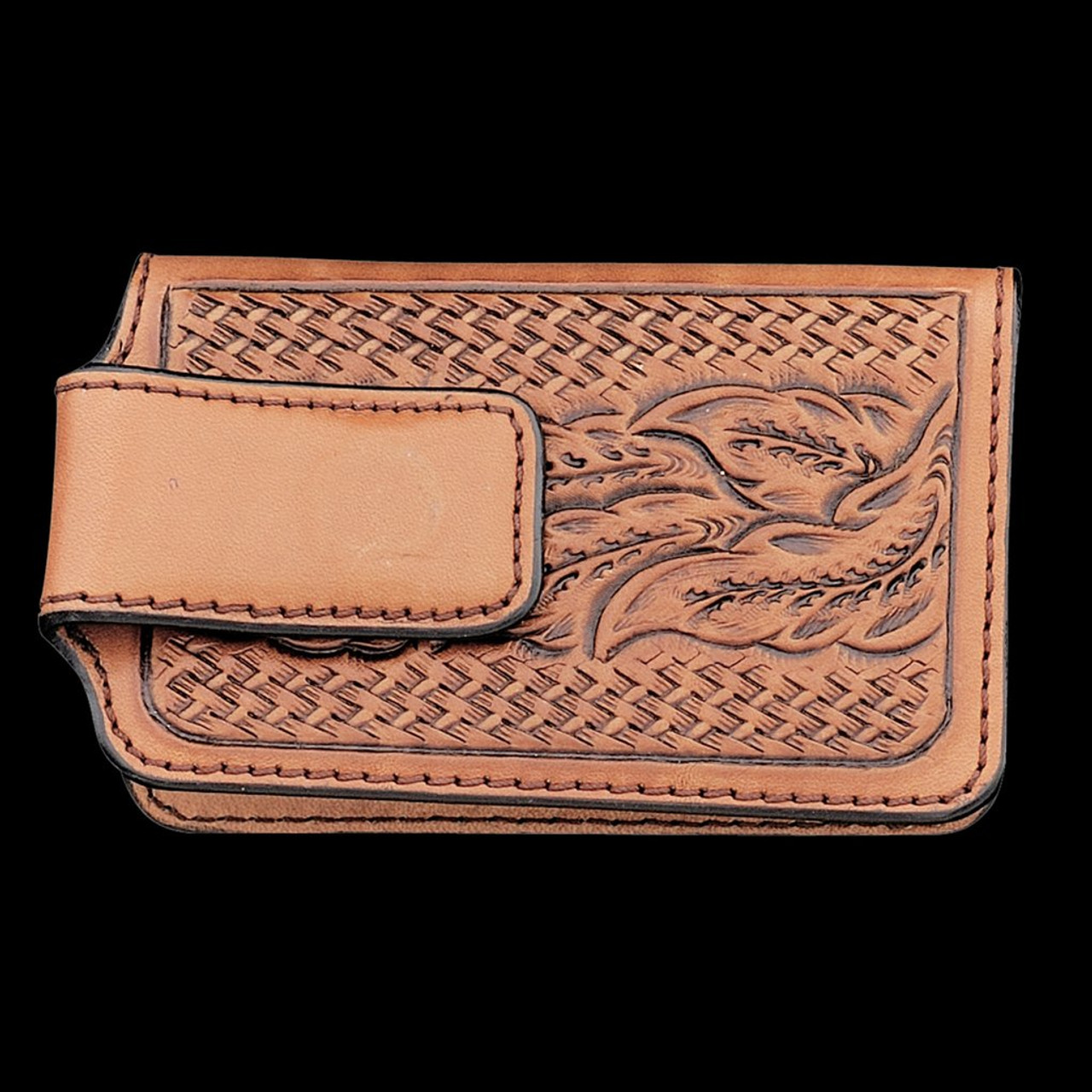 3060e9956 Vogt Mens Accessories - Wallets - Fully Hand Tooled Russet Leather Wallet  Clip