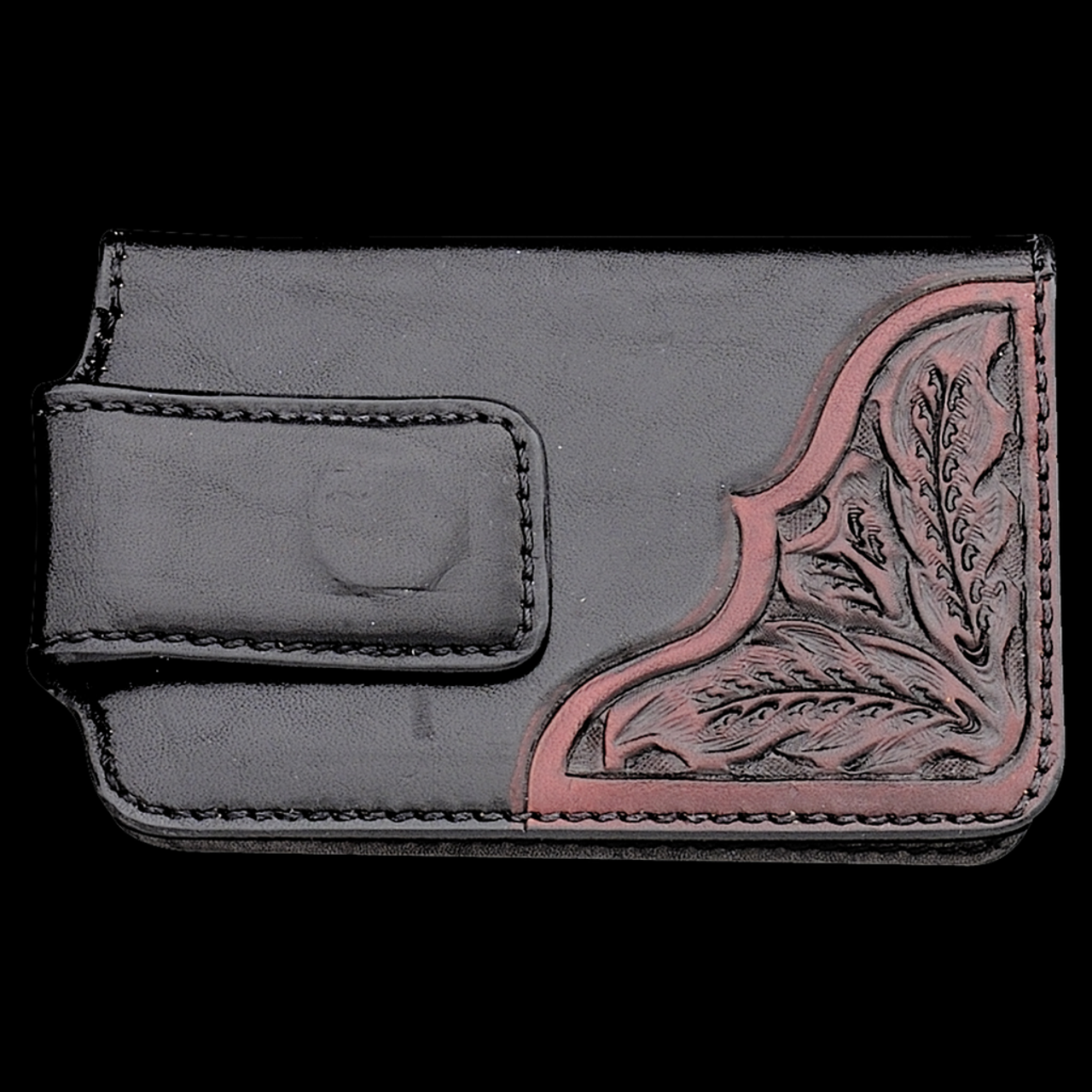 fc9c9c0df Vogt Mens Accessories - Wallets - Smooth Black Leather Wallet Clip Hand  Tooled Black Cherry Corners