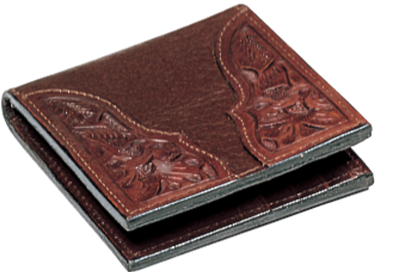 b96e55c5e Vogt Mens Accessories - Wallets - Pebbled Raisin American Bison with Hand  Tooled Floral Corners