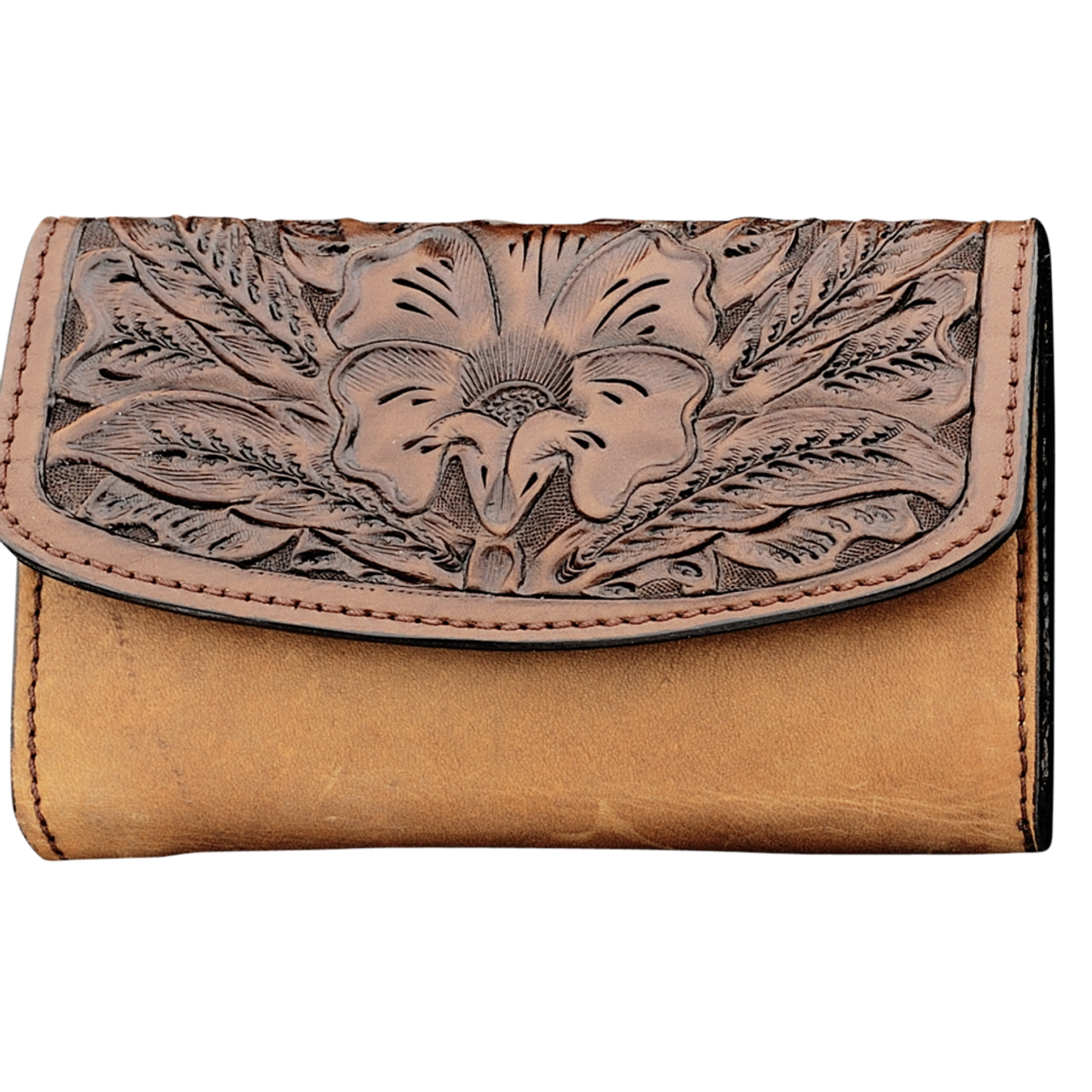 56ba0124533a Vogt Womens Accessories - Purses - Smooth Scarred Russet Saddle Brown  Leather Clutch Purse