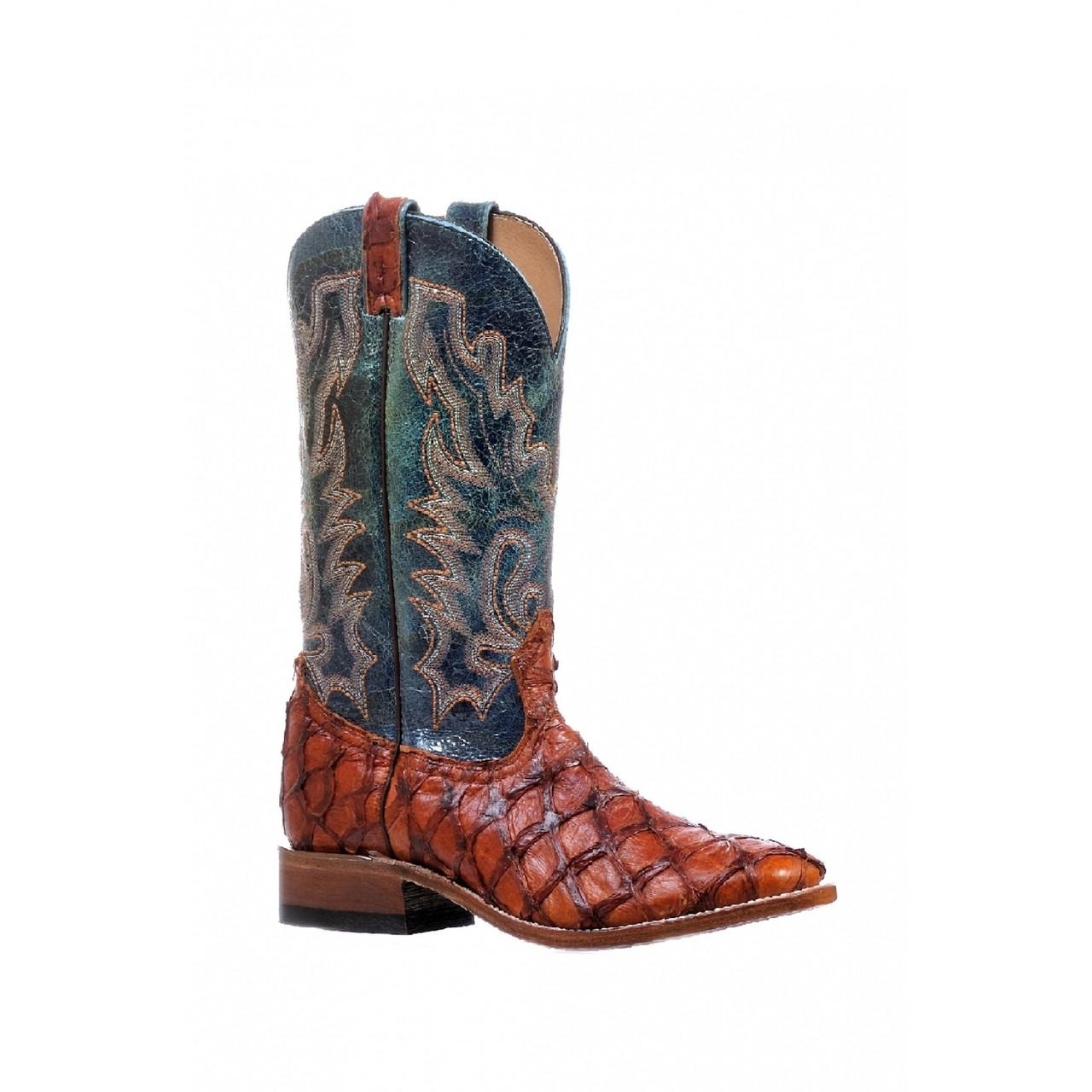 e0116645d37 Boulet Men's Western Exotic Boots - Pirarucu Fish Skin Henna Vamp