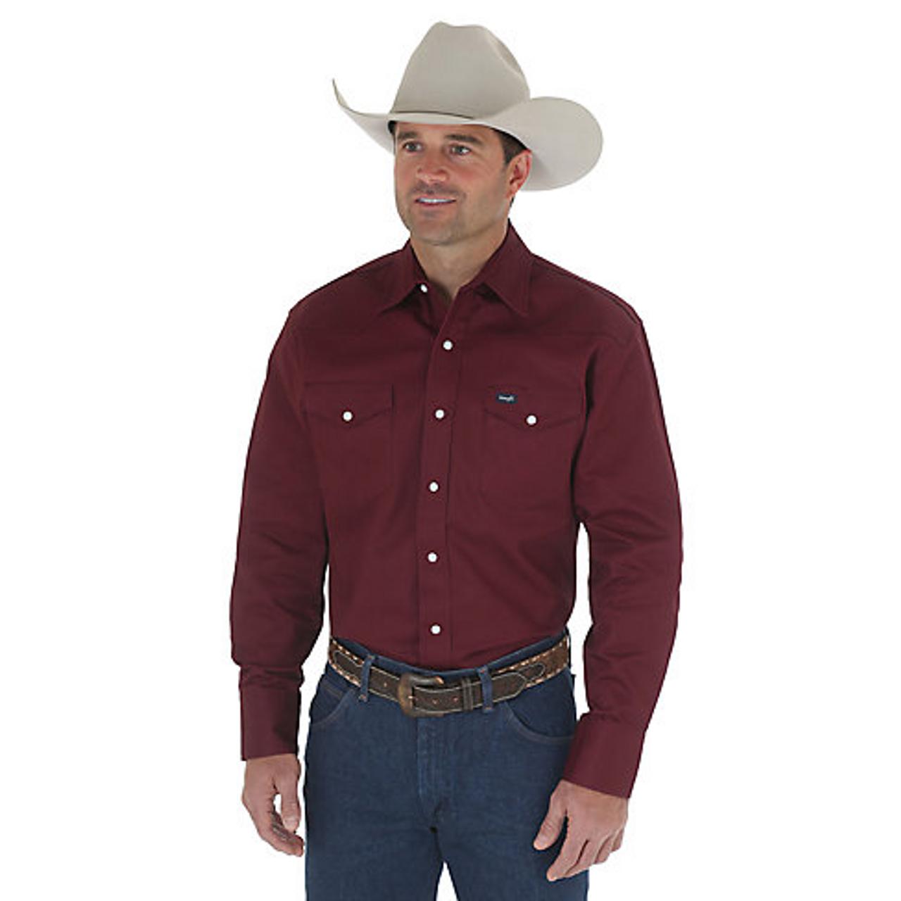 ae3c3bfff10 Wrangler Men s Work Shirt - Cowboy Cut - Red Oxide - Billy s Western ...