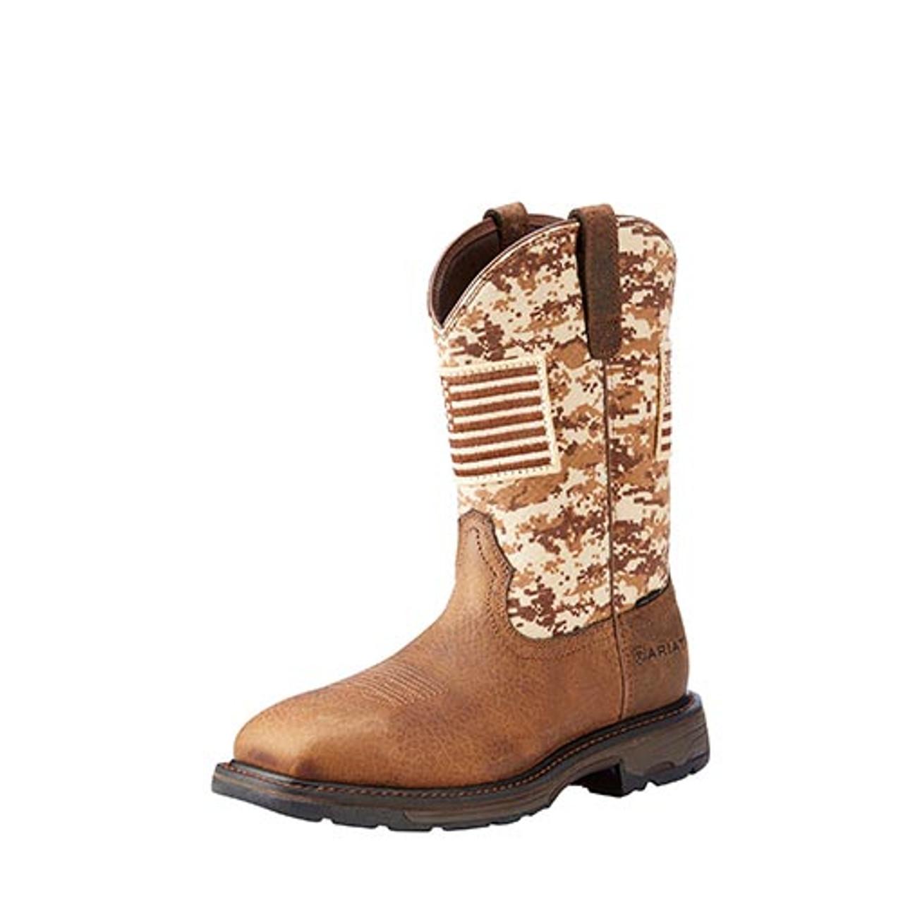 a1e3cb83973 Ariat Men's Work Boots - Workhog - Patriot - Steel Toe/Slip Resistant -  Earth / Sand Camo