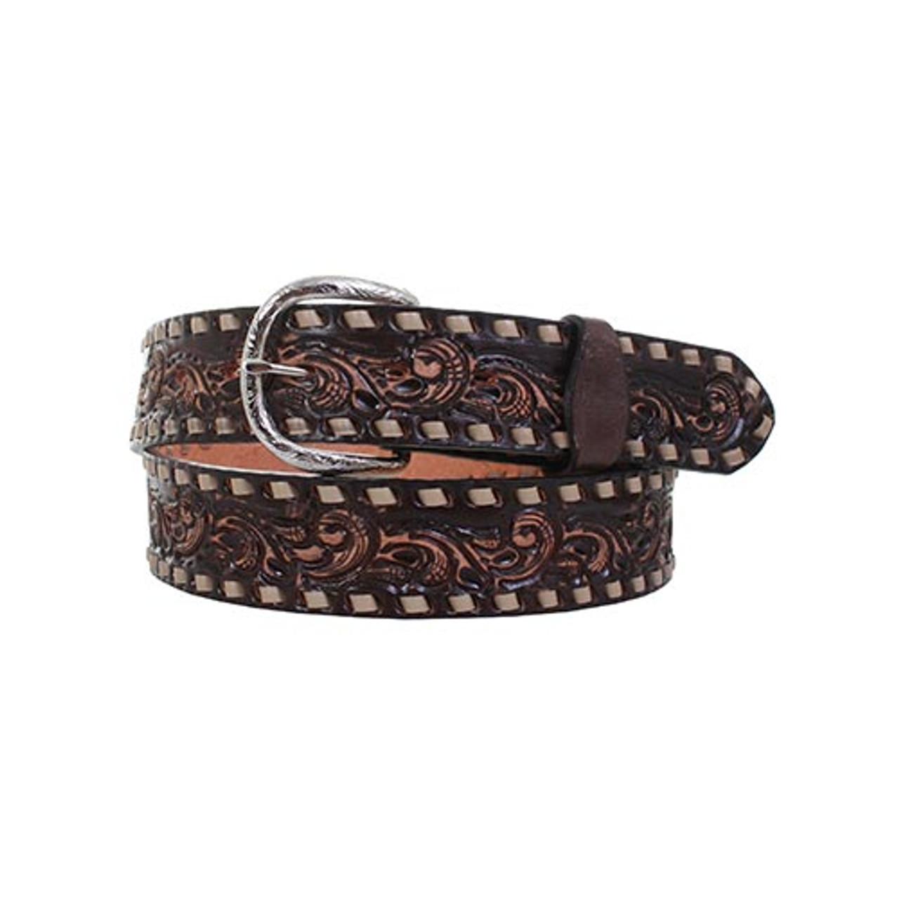 Double J Saddlery Men's Belts - 1 1/2 Brown Vintage Whirlwind Tooled Belt  W/ Cream Buckstitch