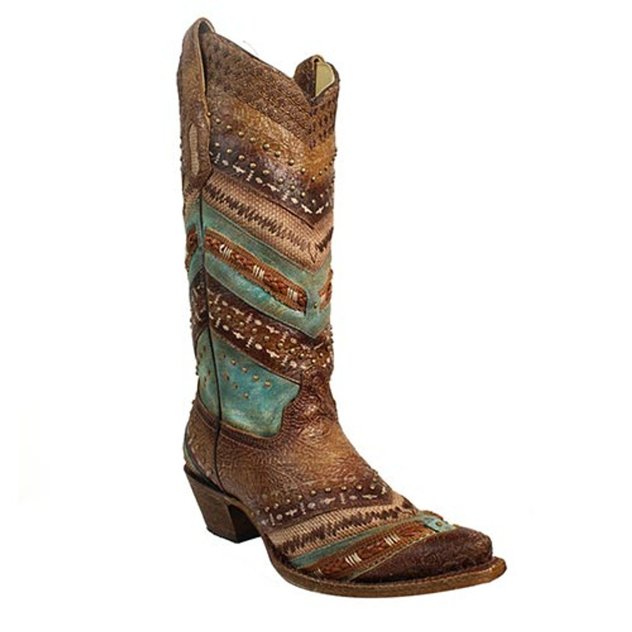 05cd0a8d08a Corral Women's Boots - Turquoise and Brown - Embroidery & Studded - Snip Toe