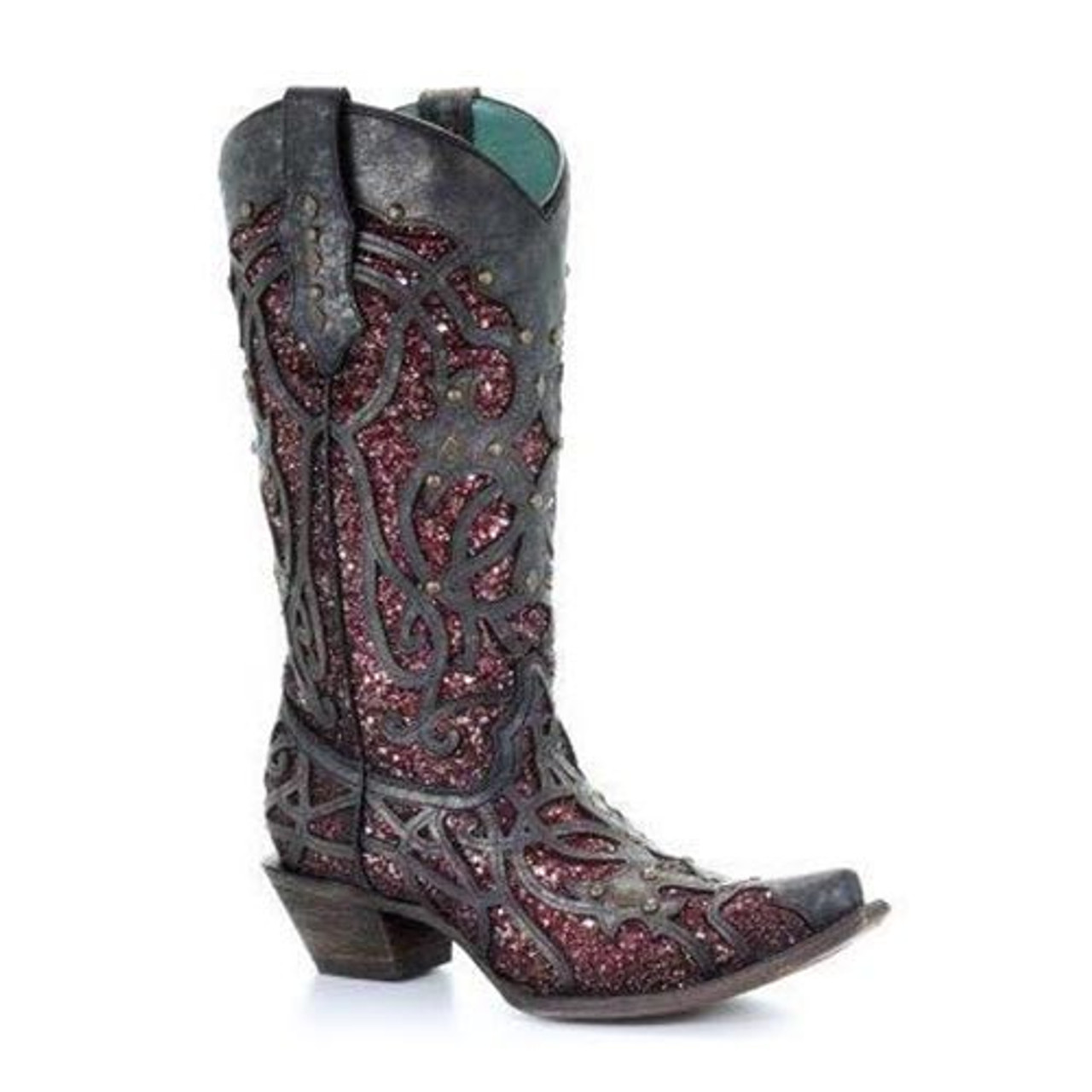f39057c7742 Corral Women's Boots - Black / Plum Glitter Inlay & Studs - Snip Toe