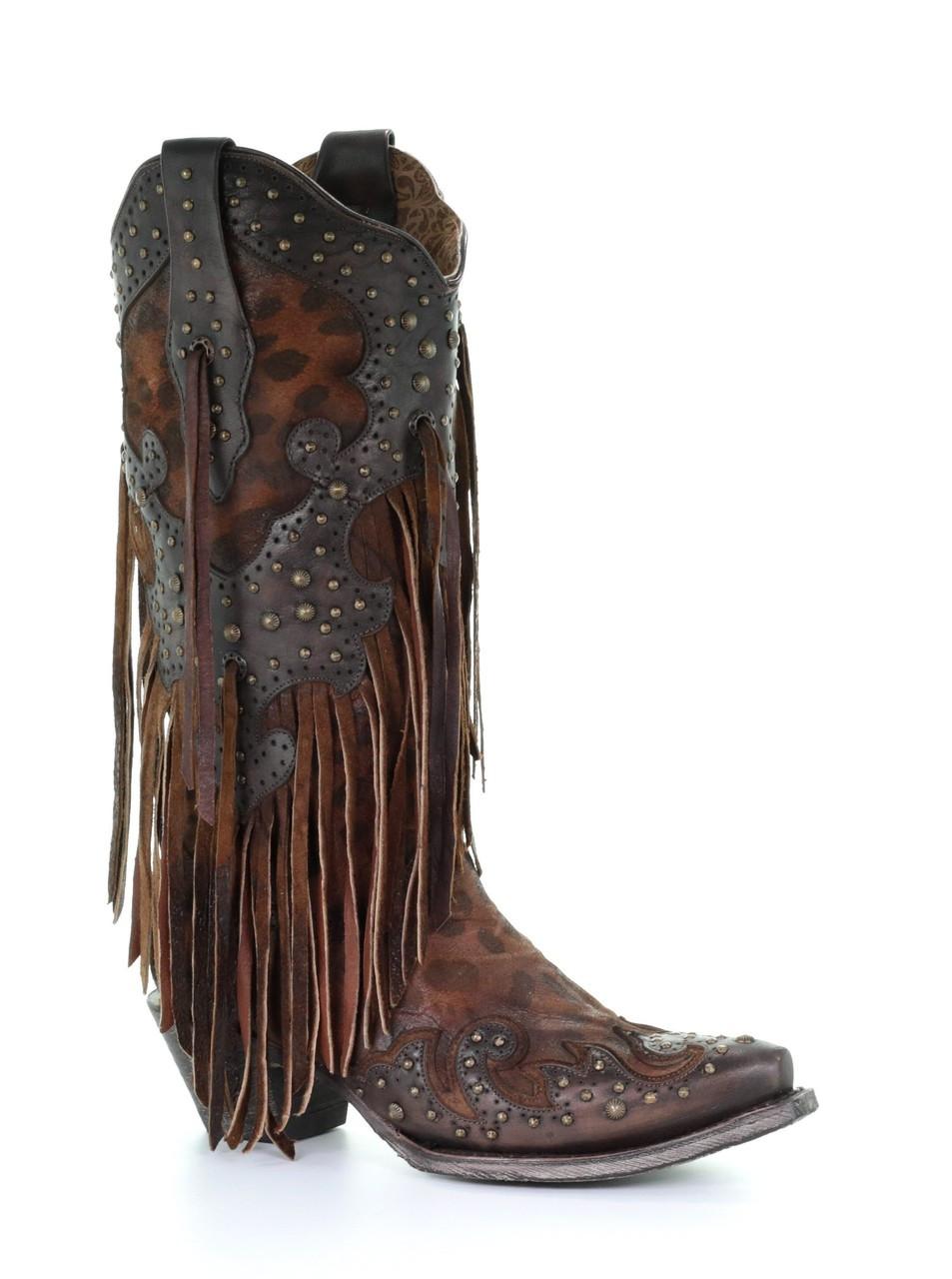 Corral Women s Boots - Honey Goat Overlay   Studs   Fringes - Snip ... c176c91eb0