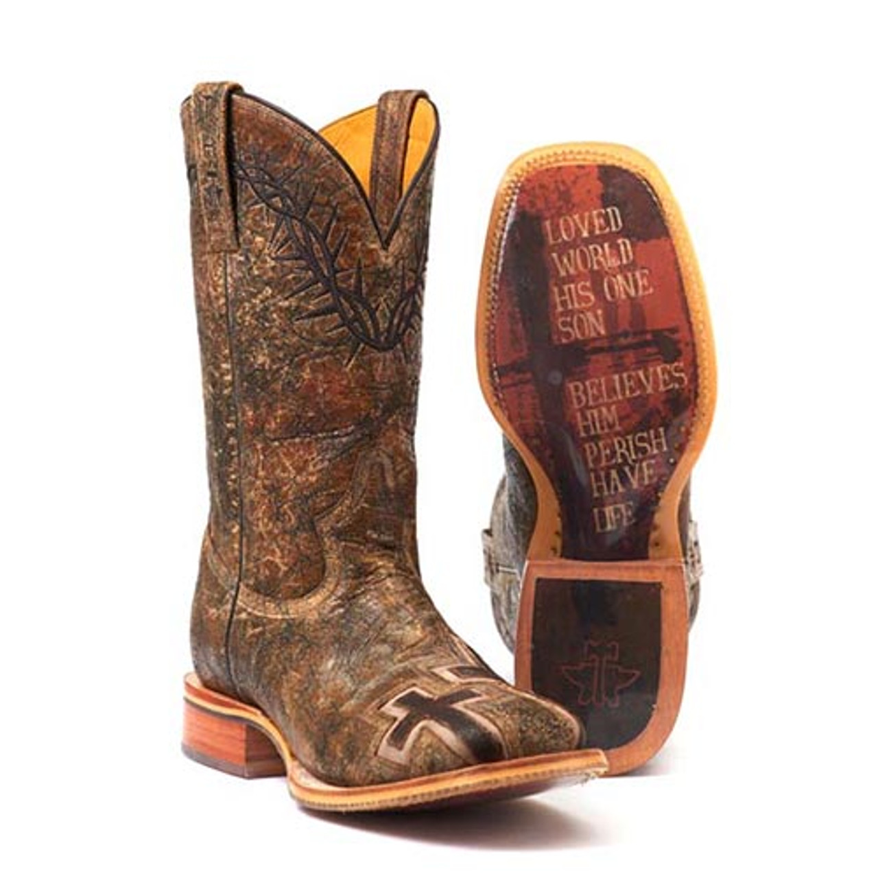 d722ff349f8 Tin Haul Men's Boots - John 3:16 Boots With Bible Verse Sole Handcrafted
