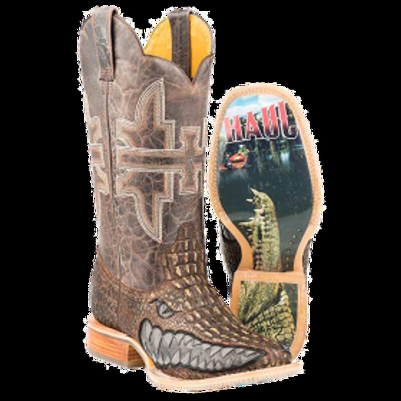 8280e809962 Tin Haul Men's Boots - Swamp Chomp Gator Sole Cowboy Boot - Brown - Square  Toe