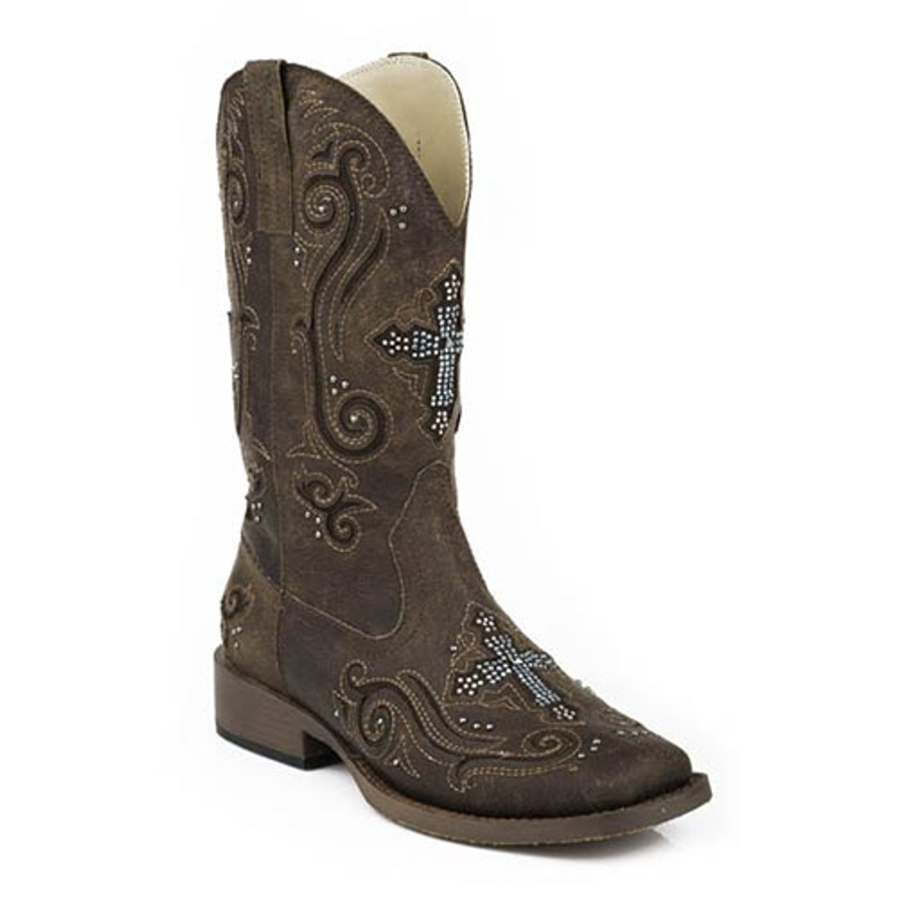 c441958ca95 Roper Women's - Vintage Crystal Cross Cowgirl Boots - Brown