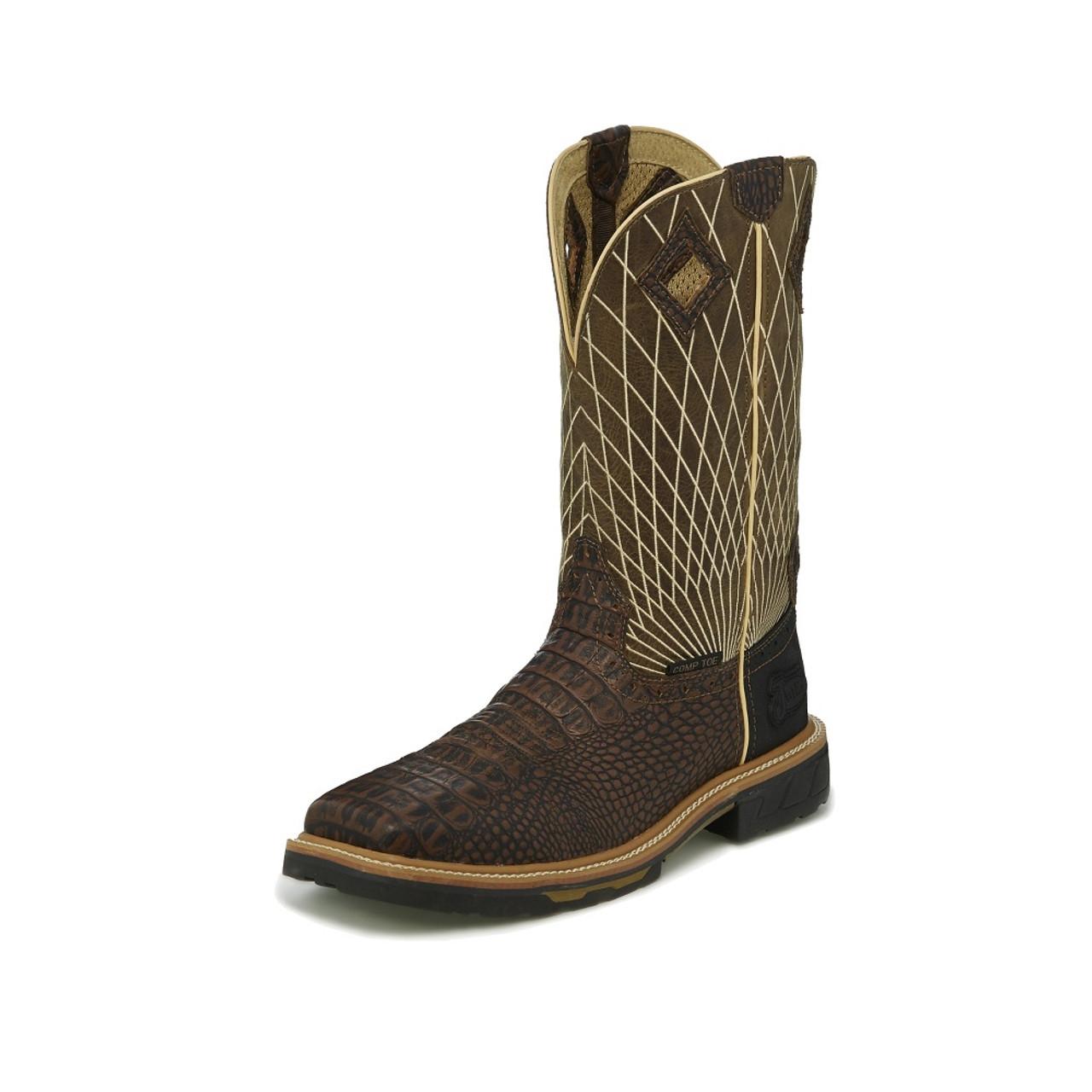 61d6acf4fab Justin Boots Men's Work Boots - Derrickman Croc Print - Composite Toe