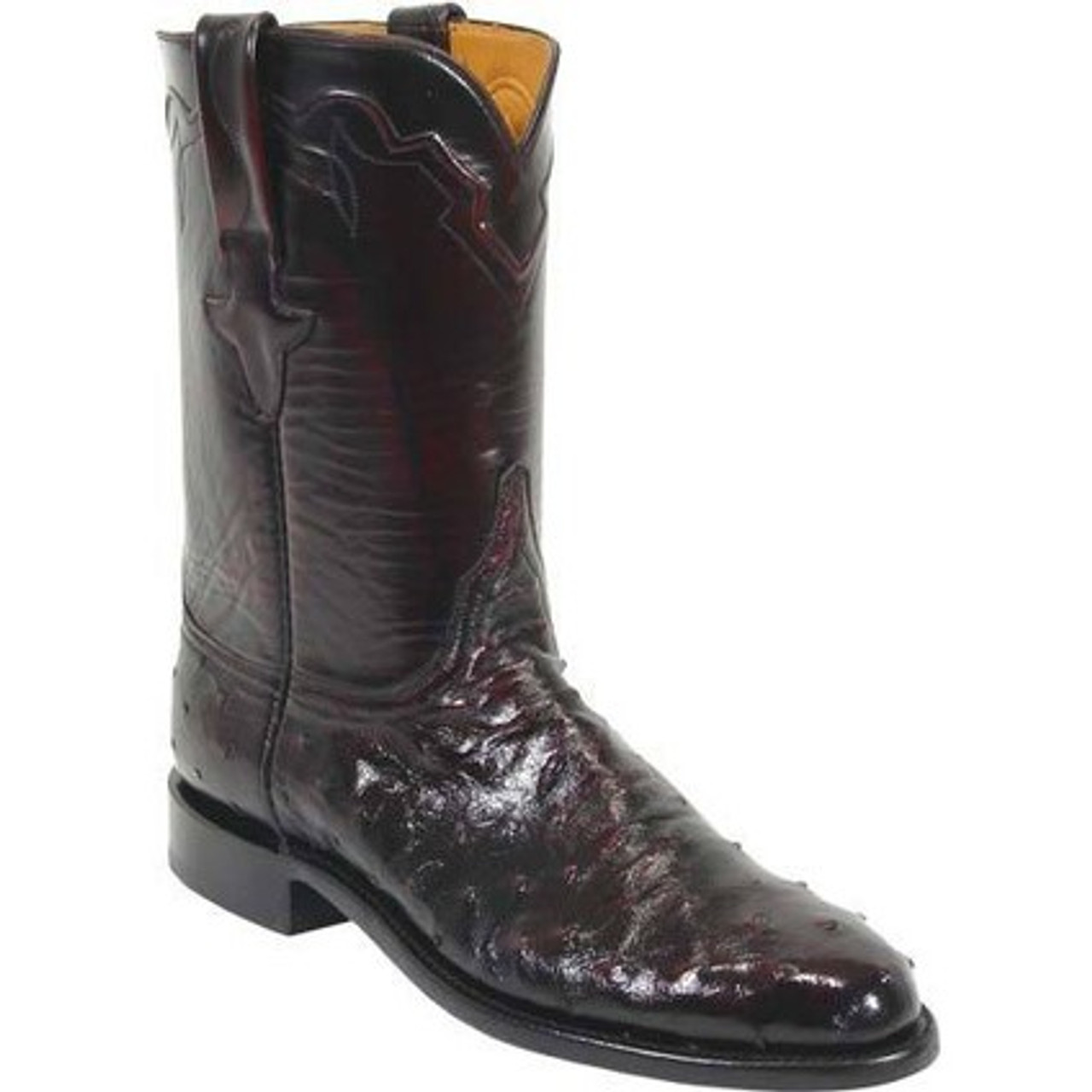 31f76caa5db Lucchese Men's Boots - Classics Hand Made - Black Cherry Brush Off - FQ  Ostrich / Goat