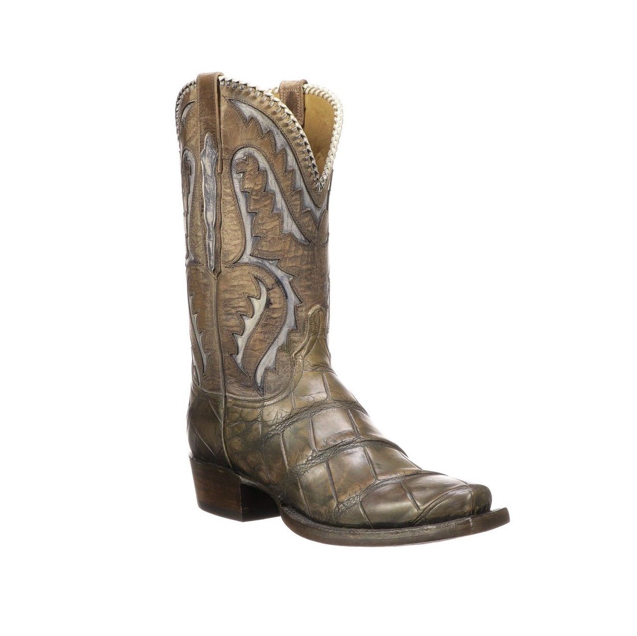 a2814403bd0 Lucchese Men's Boots - Classics Hand Made - Derek - Stone Wash Tan - Giant  Alligator / Mad Dog Goat