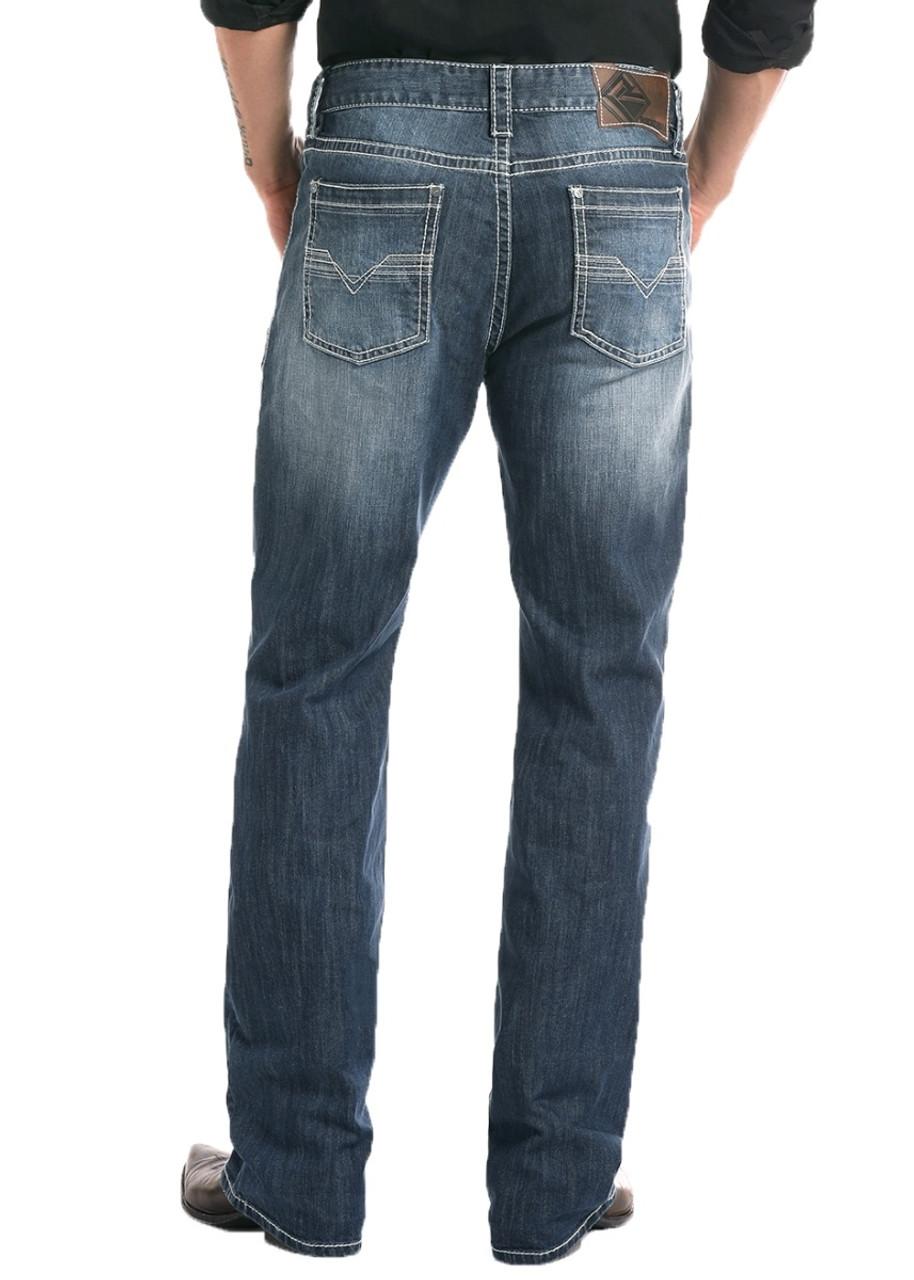 Rock /& Roll Denim Men's Relaxed Fit Reflex Pistol Straight Leg Mid Wash Western