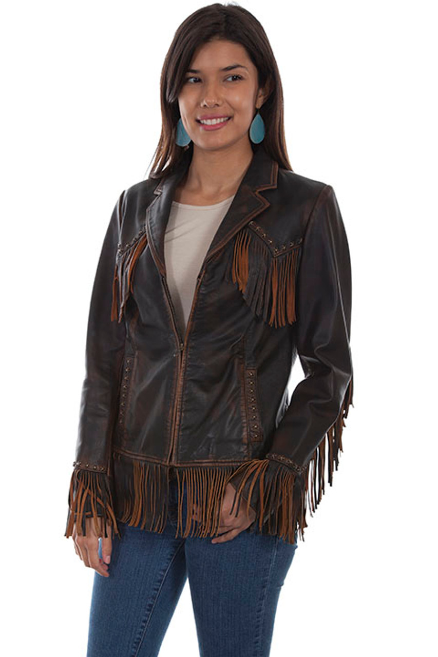 Women Brown /& Black Suede Western Style Leather Jacket With Fringe