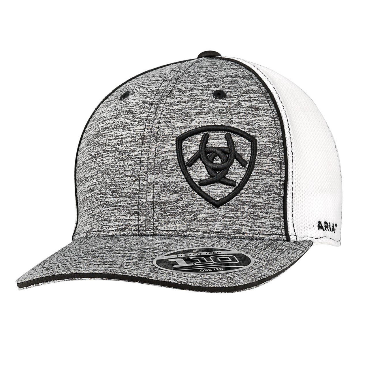8b1750e1 Ariat Caps - White Mesh Snapback - Heather Gray w/ Black Embroidered Logo