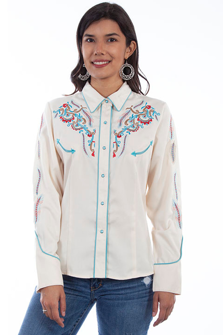 Womens Scully Colorful Horse Embroidered Western Shirt