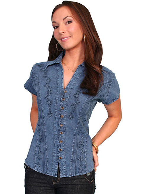 3a61e10d4566 Scully Women's Cantina Collection - Cap Sleeve Blouse Point Collar ...