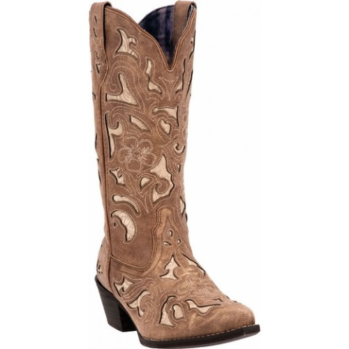 f467812985cc Laredo Women s Boots Sharona - Tan Crackle Sanded Goat Leather w  Bone Tool  Print Underlay
