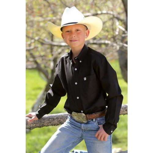 e4166f68e Cinch Boy's Shirts - Black Solid Twill Button Down - Billy's Western ...