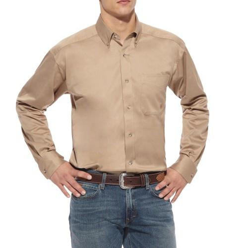 05930984 Ariat Men's Solid Twill Shirt - Khaki / Beige - Billy's Western Wear