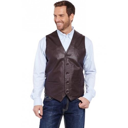 a50e13ae9a8 Cripple Creek Men's Apparel - Button Front Lamb Nappa Vest - Chocolate