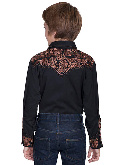 Scully Western Shirt Boy L//S Snap Floral Embroidery XS Black P-634K