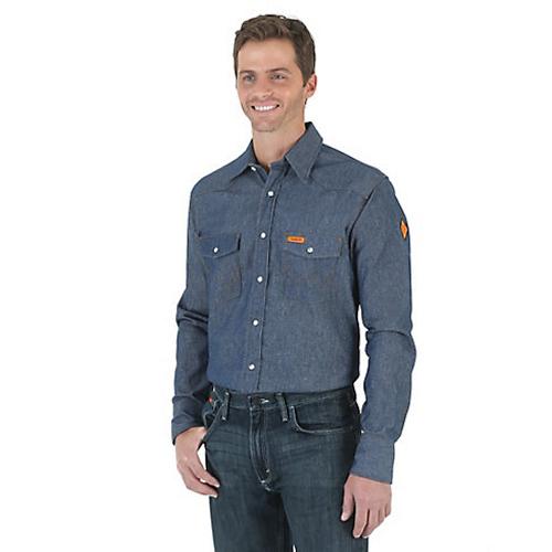 c2482ef9051 Wrangler Men s Work Shirt - Flame Resistant - Denim - Billy s ...