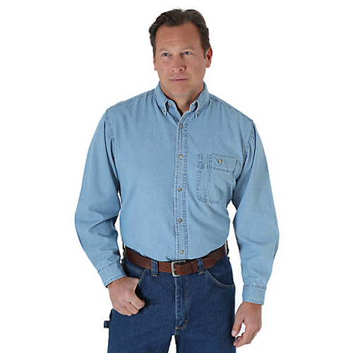 40504ac7d136 Wrangler Men s Basic Shirt - Rugged Wear - Denim - Billy s Western Wear