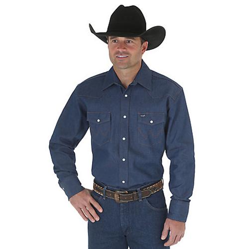 53d05226 Wrangler Men's Work Shirt - Cowboy Cut - Blue - Billy's Western Wear