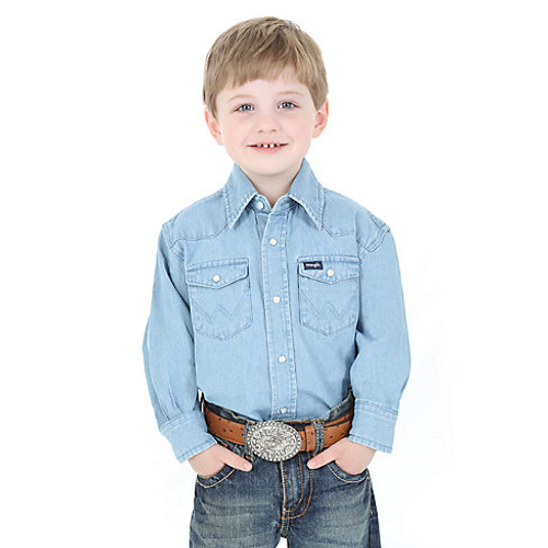 e9c4c585 Wrangler Boy's Snap Shirt - Denim - Billy's Western Wear
