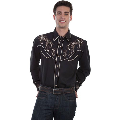 54f10b70d5b7 Scully Mens Western Apparel - Scroll Stitching Embroidery Western Shirt -  Black