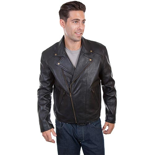 baef7ad55 Scully Mens Jackets - Motorcycle Leather Concealed Carry - Black