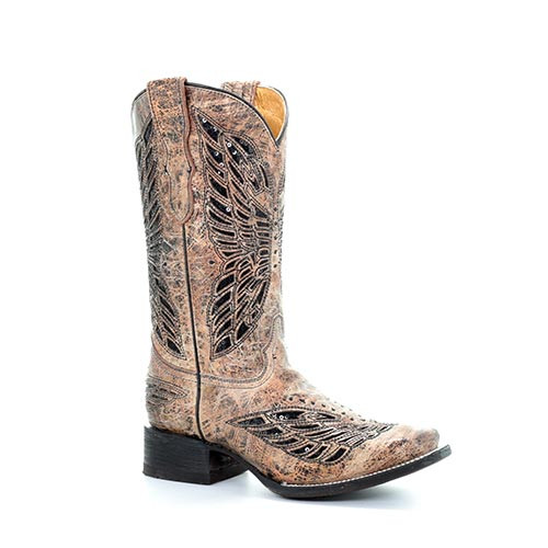 282b3149c85 Corral Kid's Boots - Cowboy Leather Western Boots Golden Butterfly Inlay