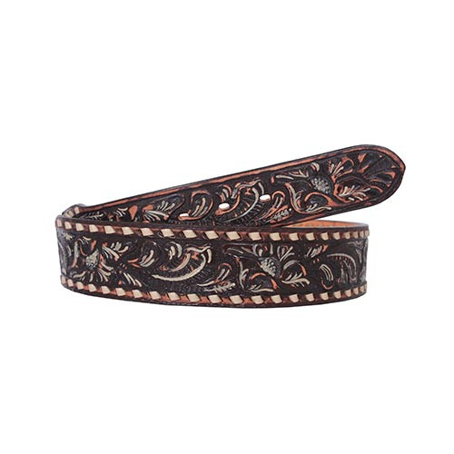 Double J Saddlery Men's Belts - Floral Role Brown Vintage Finish / Cream  Hi-Lite & Cream