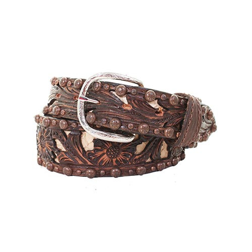 Double J Saddlery Men's Belts - 1 7/8 Tapered to 1 1/2 Floral Tooled Brown  Vintage / Bone Inlay