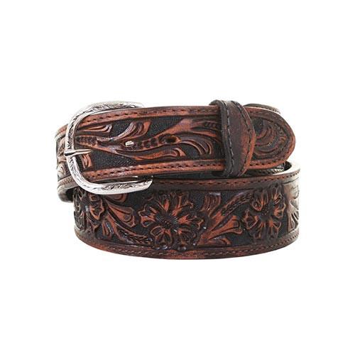 Double J Saddlery Men's Belts - 1 7/8 Tapered to 1 1/2 Tooled Brown Vintage  / Black Floral