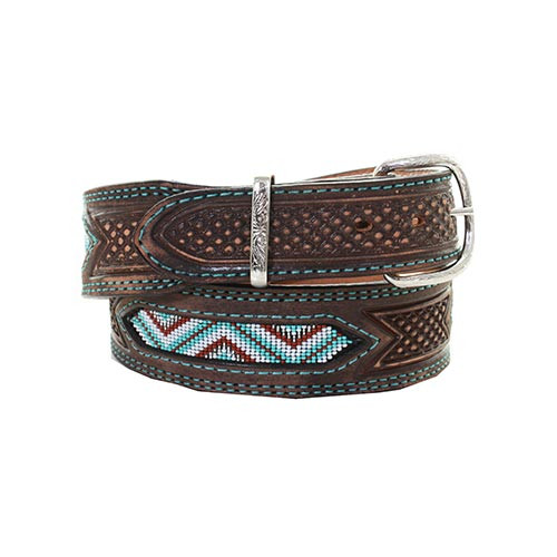 Double J Saddlery Men's Belts - 1 7/8 Tapered to 1 1/2 Wide Brown Vintage  Tooled And Beaded Belt