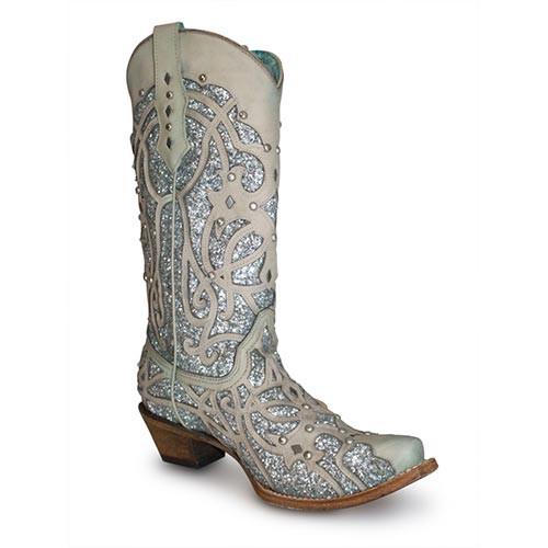 89b7362fe4a Corral Women's Boots - White Turquoise Glitter Chameleon Sun Boots - Snip  Toe
