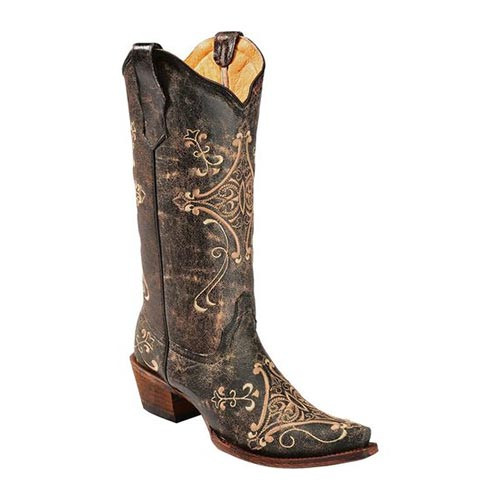 Corral Women's Boots Black Crackle Bone Embroidery Snip Toe