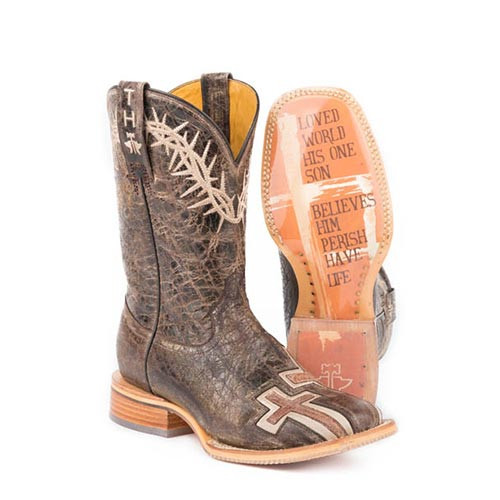 b0308f672ac Tin Haul Women s Boots - My Savior w  Bible Verse Sole - Brown - Wide