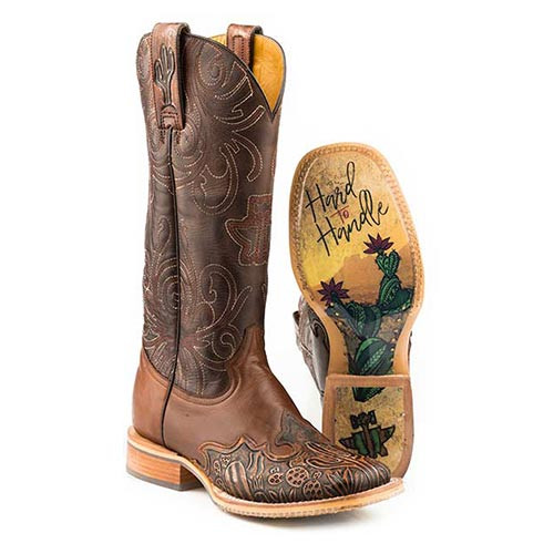 84a90b4274a Tin Haul Women s Boots - Cactooled w Hard to Handle Sole - Brown - Wide  Square Toe