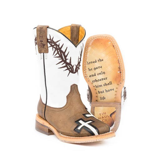 25aad98bbba Tin Haul Men s Boots - John 3 16 Boots With Bible Verse Sole ...