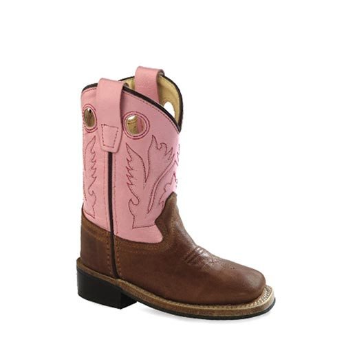 f61b01c1068 Jama Old West - Kids - Girls' Hot Pink Cross Inlay Cowgirl Boots ...